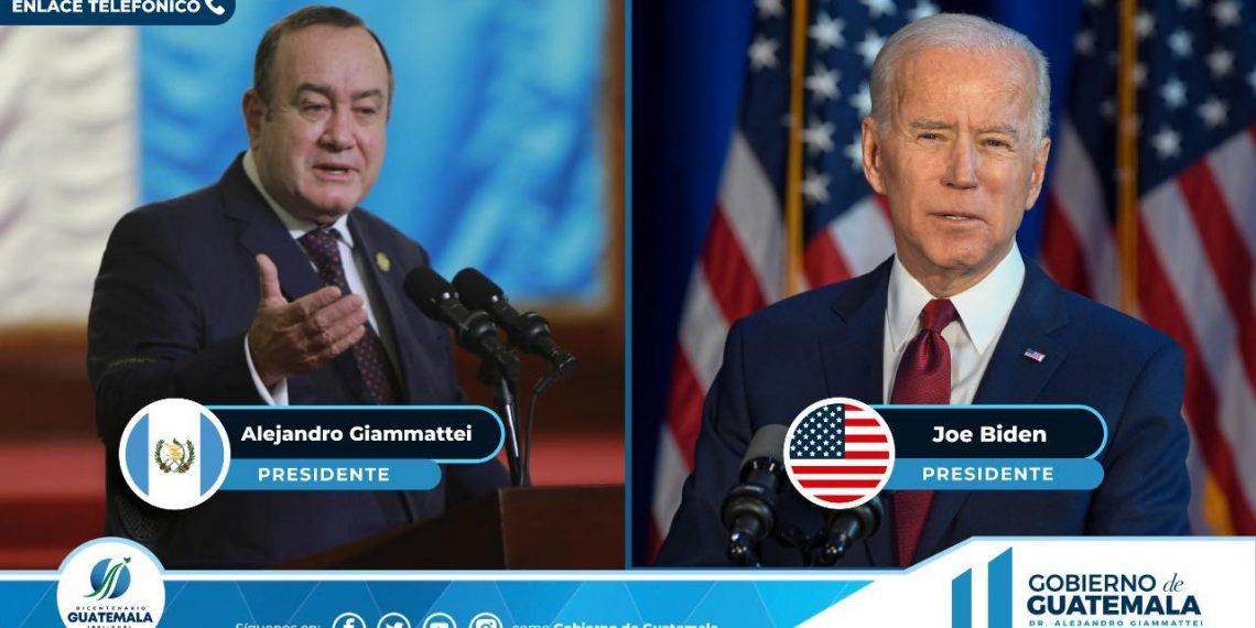 Presidente Alejandro Giammattei conversa con su homólogo estadounidense Joe Biden