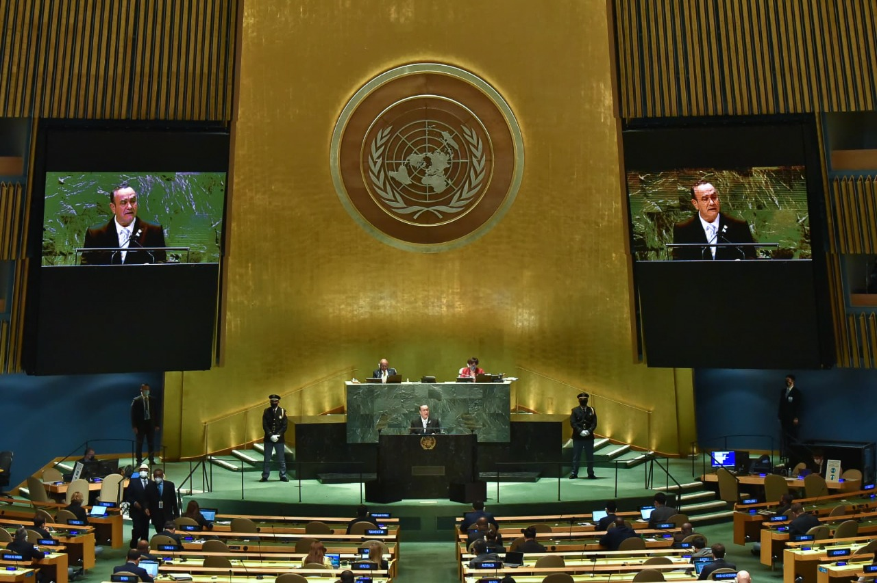 El presidente Alejandro Giammattei participó este miércoles ante la Asamblea General de las Naciones Unidas.